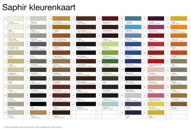Saphir schoenpoets kleuren